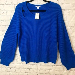 Bar III vibrant blue ribbed knit with cut out